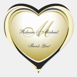 Beautiful Gold Heart Wedding Thank You Sticker