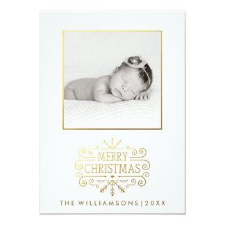 Beautiful Gold Merry Christmas Snowflake Photo Card