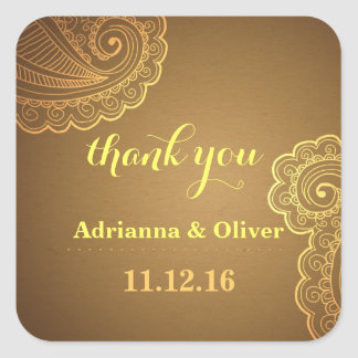 Beautiful Gold Paisley Floral Wedding Thank You Square Sticker