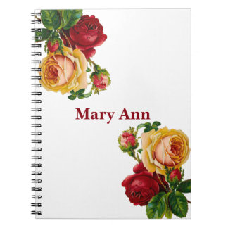 Beautiful Gold & Red Roses White Spiral Notebook