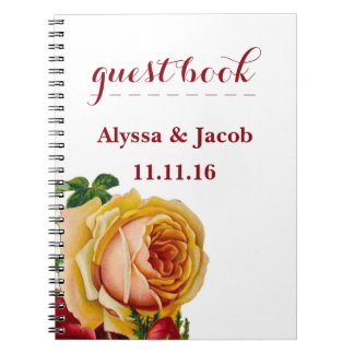 Beautiful Gold & Red Roses White Wedding Notebook