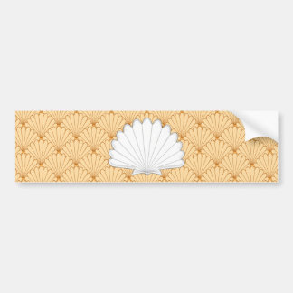 Beautiful Gold Scallop Shell Repeating Pattern Bumper Sticker