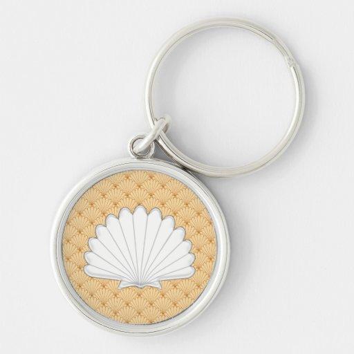 Beautiful Gold Scallop Shell Repeating Pattern Key Chain
