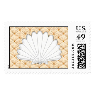 Beautiful Gold Scallop Shell Repeating Pattern Stamps