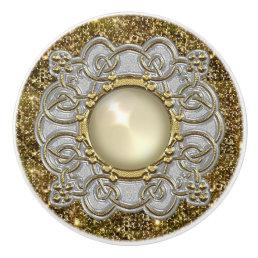 Beautiful Gold & Silver with Pearl Jewel Design Ceramic Knob