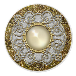 Beautiful Gold & Silver with Pearl Jewel Design Ceramic Knob