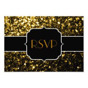 Beautiful Gold sparkles RSVP horizontal 3.5x5 Paper Invitation Card
