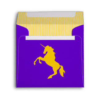 Beautiful Gold Unicorn striped  illustration Envelope