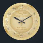 "Beautiful Golden 50th Wedding Anniversary Large Clock<br><div class=""desc"">Personalize Clock. 50th Golden Wedding Anniversary Keepsake ready for you to personalize - If you need further customization, please click the ""Click to Customize further"" or ""Customize ""button and use our design tool to resize, rotate, change text color, add text and more. ⭐This Product is 100% Customizable. Graphics and /...</div>"