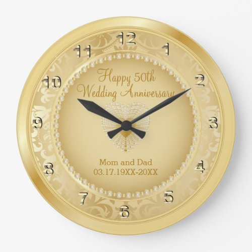 Beautiful Golden 50th Wedding Anniversary Large Clock