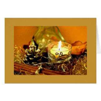Beautiful Golden Candle Christmas Card