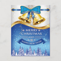 Beautiful Golden Christmas Bells with Blue Bow Holiday Postcard