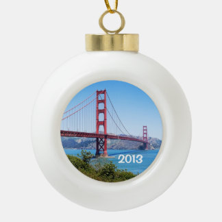 Beautiful Golden Gate Bridge Ceramic Ball Christmas Ornament