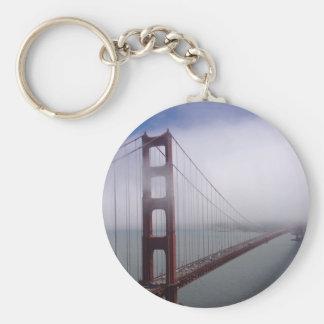 Beautiful Golden Gate Bridge in the fog keychain