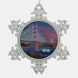 Beautiful Golden Gate Bridge Snowflake Snowflake Pewter Christmas Ornament