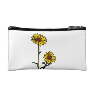 Beautiful Golden Stained Glass Sunflowers Cosmetic Bag