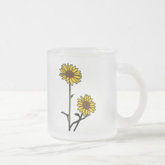 Beautiful Golden Stained Glass Sunflowers Frosted Glass Coffee Mug