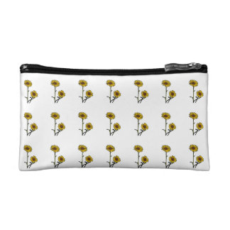 Beautiful Golden Stained Glass Sunflowers Makeup Bag