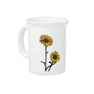 Beautiful Golden Stained Glass Sunflowers Pitchers