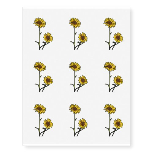 Beautiful Golden Stained Glass Sunflowers Temporary Tattoos