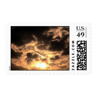 Beautiful Golden Sun And Dark Clouds Postage Stamp