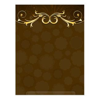 Beautiful golden swirls on maroon damask postcard