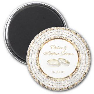 Beautiful Golden Wedding Bands 2 Inch Round Magnet