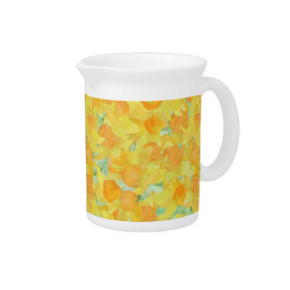 Beautiful Golden Yellow Watercolour Daffodils Beverage Pitchers