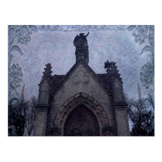 Beautiful gothic cemetery crypt postcard
