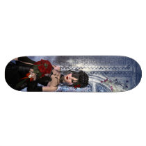 Beautiful Gothic girl, roses & candles Skateboard