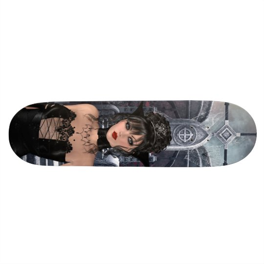 Beautiful Gothic Queen & Throne Skateboard Deck