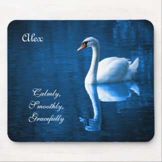 Beautiful Graceful White Swan Calm Blue Lake Mouse Pad