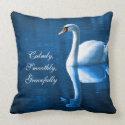 Beautiful Graceful White Swan Calm Blue Lake Pillows