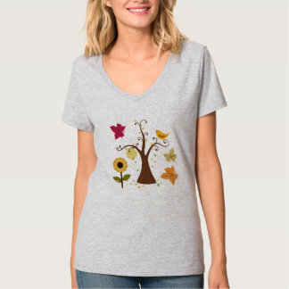 beautiful graphic fall yellow color trees, flower tee shirts