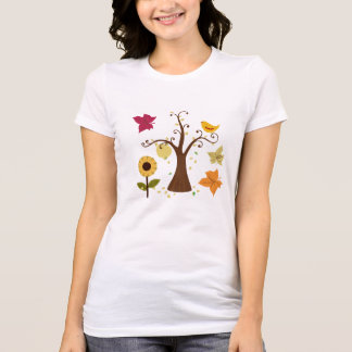 beautiful graphic yellow  fall trees, leaves, bird t shirts