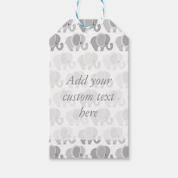 Beautiful Gray Elephants Baby Gift Tags