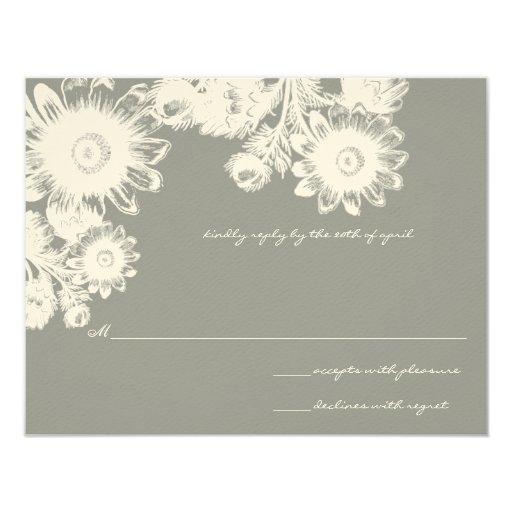 Beautiful Gray Vintage Flower Wedding RSVP Card Custom Invitation