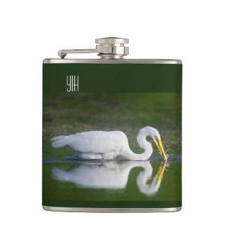 Beautiful Great Egret Catching Fish Hip Flasks