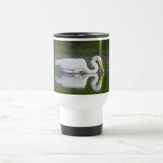 Beautiful Great Egret Catching Fish 15 Oz Stainless Steel Travel Mug