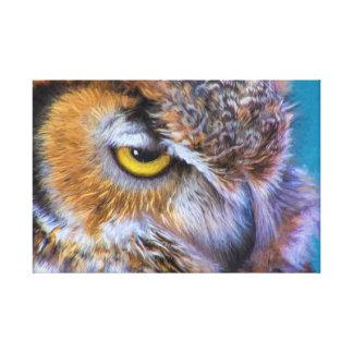 Beautiful Great Horned Owl Bird Golden Eye Canvas Print
