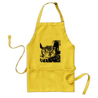 Beautiful Great Horned Owl Black & White Graphic Adult Apron