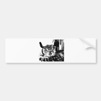 Beautiful Great Horned Owl Black & White Graphic Car Bumper Sticker