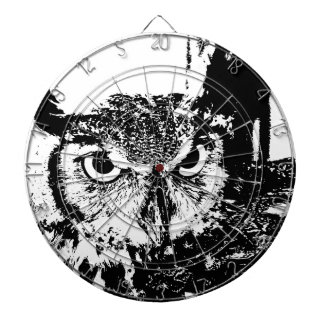 Beautiful Great Horned Owl Black & White Graphic Dartboard With Darts