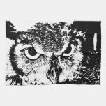 Beautiful Great Horned Owl Black & White Graphic Kitchen Towel