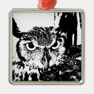 Beautiful Great Horned Owl Black & White Graphic Metal Ornament