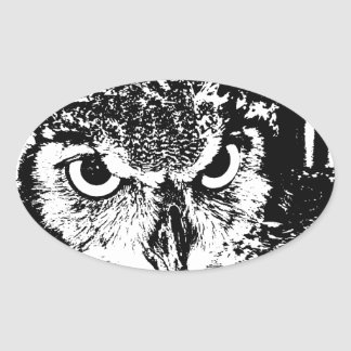 Beautiful Great Horned Owl Black & White Graphic Oval Sticker