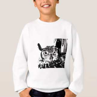 Beautiful Great Horned Owl Black & White Graphic Sweatshirt