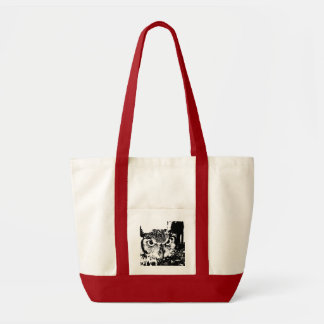 Beautiful Great Horned Owl Black & White Graphic Tote Bag