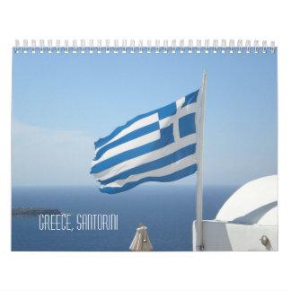 Beautiful Greece Santorini Blue Sea White House Calendar