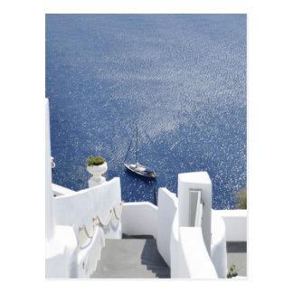 Beautiful Greece Santorini Blue Sea White House Postcard